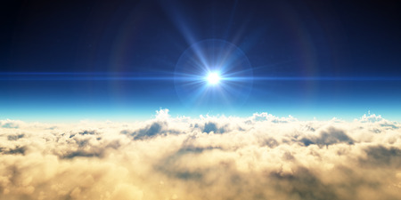 Sun above clouds Stock Photo