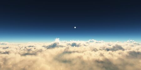 planet sunset above clouds Stock Photo