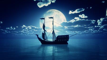 old ship in sea full moon