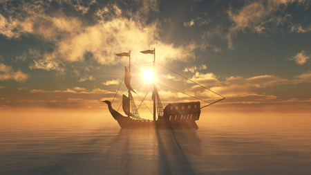 old ship in sea sunset Stock Photo