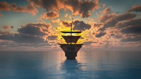 Navio velho no pôr do sol do mar Foto de archivo - 92679998