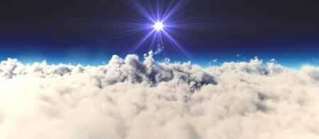 planet sunset above clouds Banco de Imagens