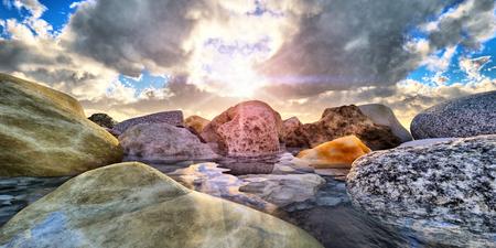 rock in sea macro Stock Photo