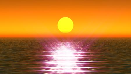 gold sunset in ocean