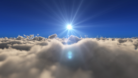 fly in above clouds sun ray