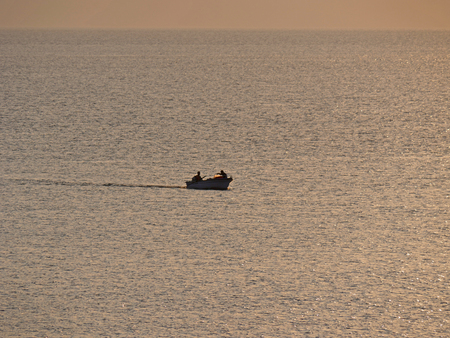 small fishing boat at sea