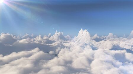 fly above big clouds landscape