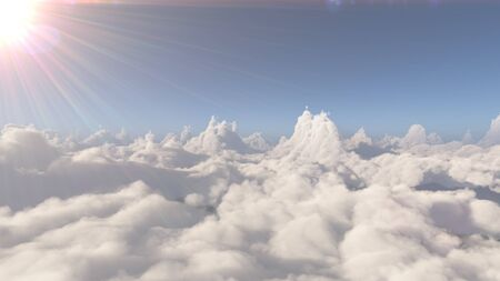 fly above big clouds landscape