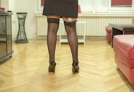 sexy woman in pantyhose posing
