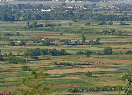 green field, aerial shot from the drone Zdjęcie Seryjne