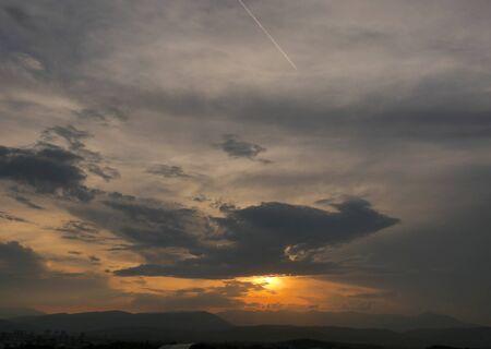 beautiful golden sunset sky landscape Zdjęcie Seryjne