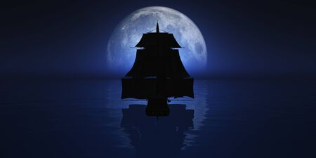 old ship at night full moon