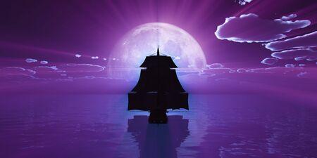 old ship at night full moon Foto de archivo