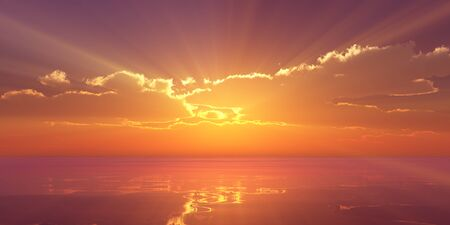 Beautify sunset over sea, sun ray