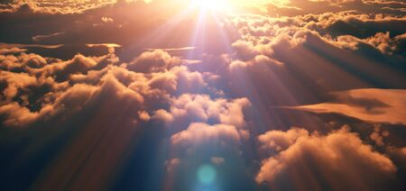 above clouds sunset god ray