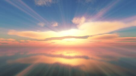 Abbellisci il tramonto sul mare, raggio di sole