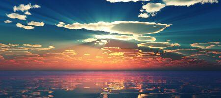 Verschönern Sie den Sonnenuntergang über dem Meer, Sonnenstrahl
