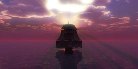 old ship sunset at sea