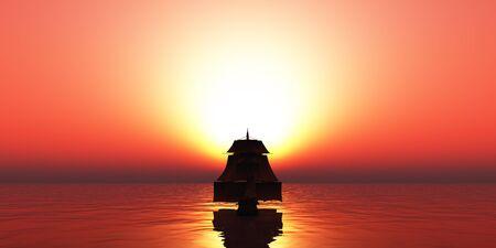 old ship sunset at sea Stockfoto - 134851697