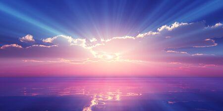 Beautify sunset over sea, sun ray