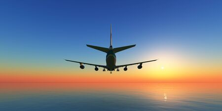 airplane in sunset sky, 3d rendering 版權商用圖片