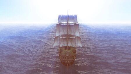 old ship in sea, 3d render Zdjęcie Seryjne