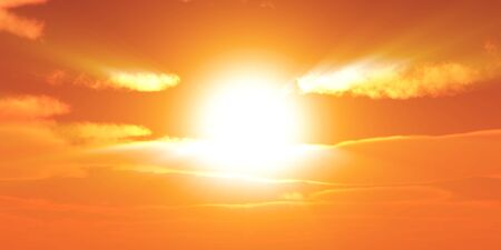 Großer Sonnenhimmel bei wunderschönem Sonnenuntergang Standard-Bild