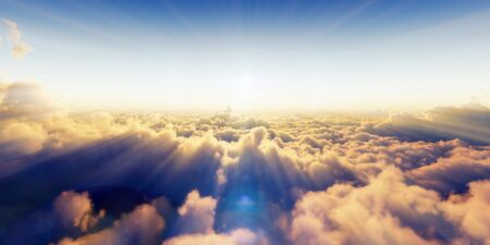 Beautiful aerial view above clouds with sunset. 3d illustration