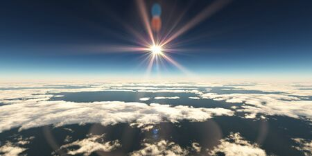 above clouds sun ray, 3d rendering