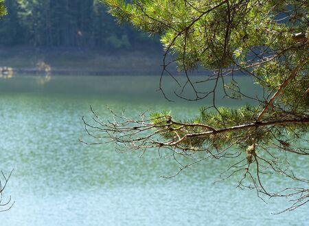 Beautiful lake Berovo in mountain panorama