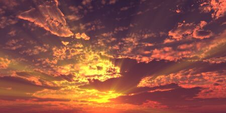Sunset  sunrise with clouds, light rays and other atmospheric effect, 3d illustration Reklamní fotografie