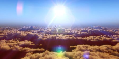 Beautiful aerial view above clouds with sunset. 3d illustration Reklamní fotografie