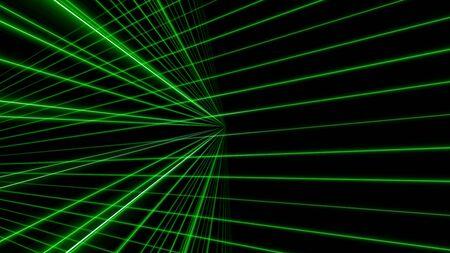 3d green line laser background, 3d illustration render