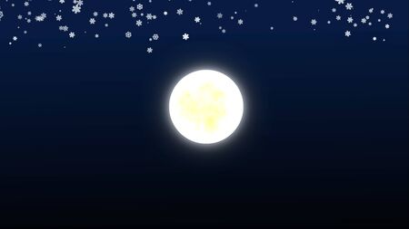 full moon fall snow at night, illustration 版權商用圖片