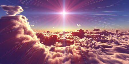 fly above clouds sunset landscape, 3d render illustration Foto de archivo - 149592863