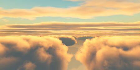 Beautiful aerial view above clouds with sunset. 3d illustration Foto de archivo - 149592865
