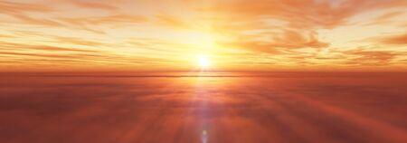 fly above clouds sunset landscape, 3d render illustration Foto de archivo - 149592880
