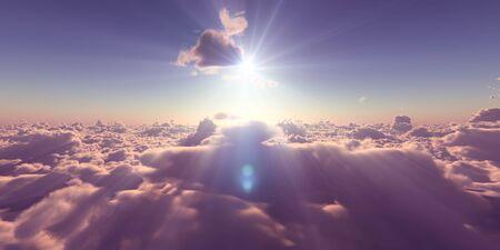 fly above clouds sunset landscape, 3d render illustration Foto de archivo - 149592881