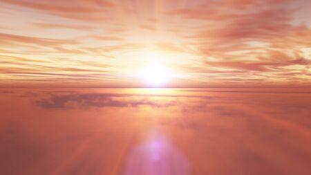 fly above clouds sunset landscape, 3d render illustration Foto de archivo - 149592907