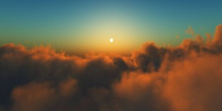 Beautiful aerial view above clouds with sunset. 3d illustration Foto de archivo - 149592963