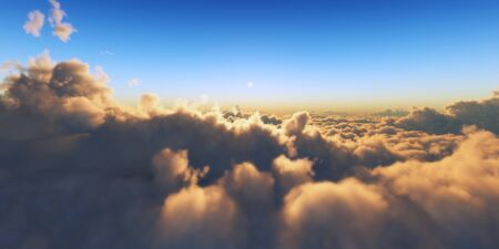 Beautiful aerial view above clouds with sunset. 3d illustration Foto de archivo - 149592967