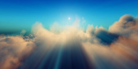 Beautiful aerial view above clouds with sunset. 3d illustration Foto de archivo - 149592970