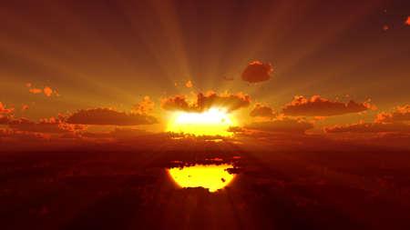 sunset calmly sea sun ray 3d rendering illustration