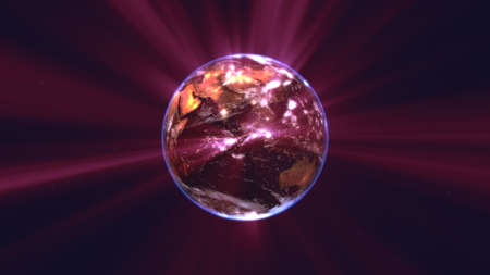 earth globe with glowing details and light rays. 3d illustration render Banque d'images
