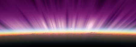 sunrise from space aurora, 3d rendering illustration Banque d'images