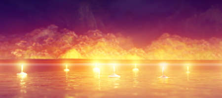 Abstract night background with candles in the water, 3d rendering illustration