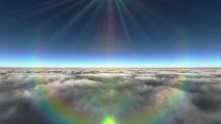 Above clouds sun ray, 3d rendering illustration Foto de archivo