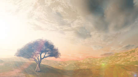 sunset at meadow and lonely tree, 3d render illustration Foto de archivo - 154464333