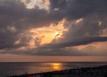 Sunrise over the sea and beautiful cloudscape