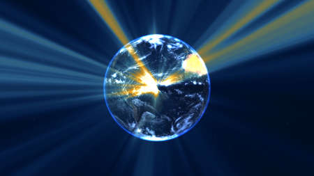 earth globe with glowing details and light rays. 3d illustration render Foto de archivo